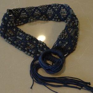 """Tommy Bahama Navy Beaded Crochet/Macrame Belt 35"""""""